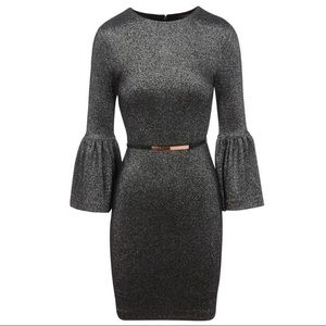 Ted Baker Silver Hannah Bell Sleeve Dress 3 US 8 M